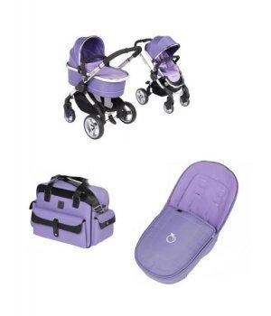 Универсальная коляска 2 в 1 iCandy Peach (с сумкой) Parma Violet Фиолетовая со спальным мешком