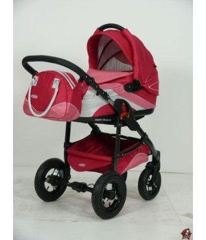 Универсальная коляска 2 в 1 Tako Ingis Go Stal PC 08 (красно-розовый с серебром)