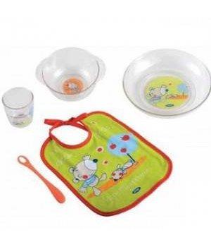 Набор посуды Jane Оранжевый с зеленым