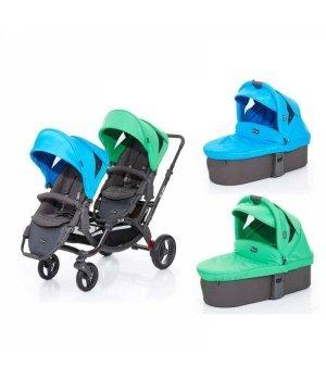 Универсальная коляска 2 в 1 для двойни ABC design Zoom с люльками Water Grass 2016
