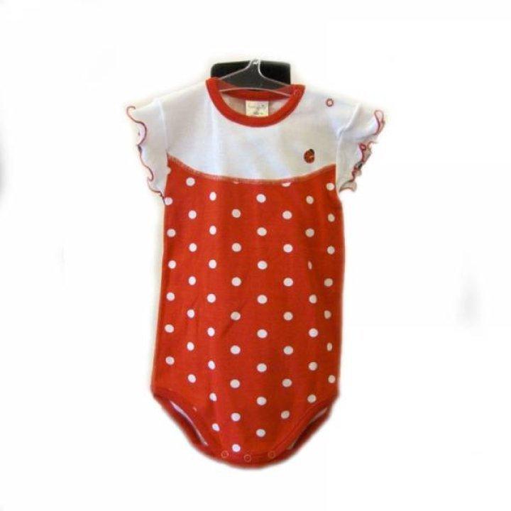 Боди-футболка Kiccaeciccio размер: 12, красная в горошех