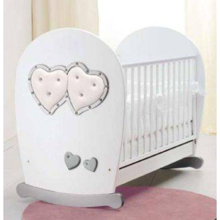 Детская кроватка Bambolina Soft Mama Белый с серебром