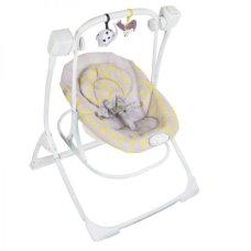 Кресло-качалка 2 в 1 Graco Cozy Duet MINII MONO (Серая в желтый горошек)