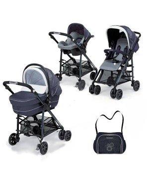 Универсальная коляска 3 в 1 Foppa Pedretti Tuo Glamour Blue Silver