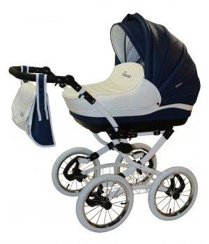 Универсальная коляска 2 в 1 Aneco Venezia classic кожа 2-SK синий с белым (белая рамма с белыми колесами)