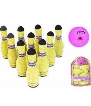 Спортивная детская игра SafSoft Боулинг в сумке (10 кеглей) Желтый