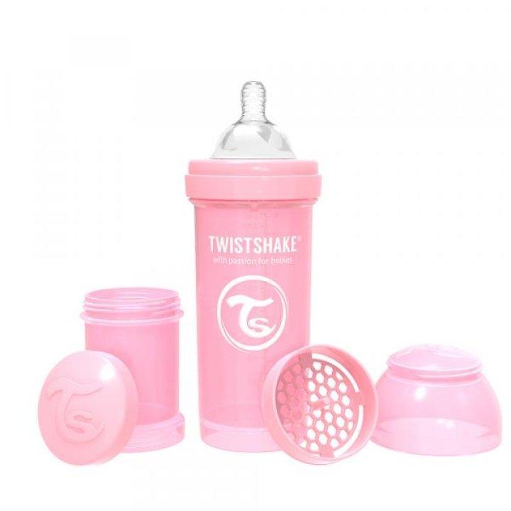 Twistshake антиколиковая бутылочка 260мл Светло -розовая (78255)