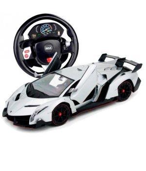 Автомобиль на радиоуправлении Lamborghini Veneno, 1:14 (гиро-руль), MZ Meizhi серый