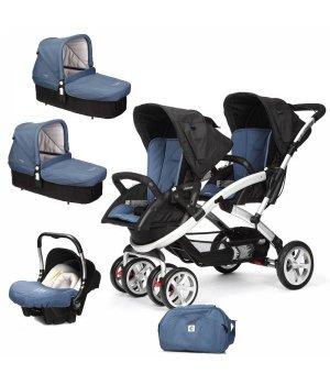 Универсальная коляска 3 в 1 для двойни Casualplay S-TWINNER BABY Lapis Lazuli