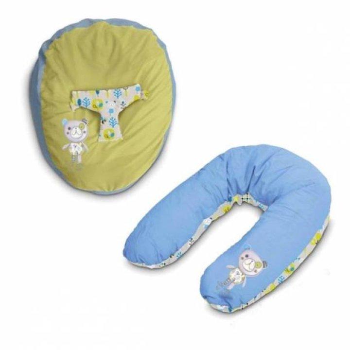 Подушка для кормления и отдыха Jane голубой с салатовым