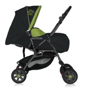 Коляска трансформер 2 в 1 Bertoni Combi Just4Kids black/green sunny city