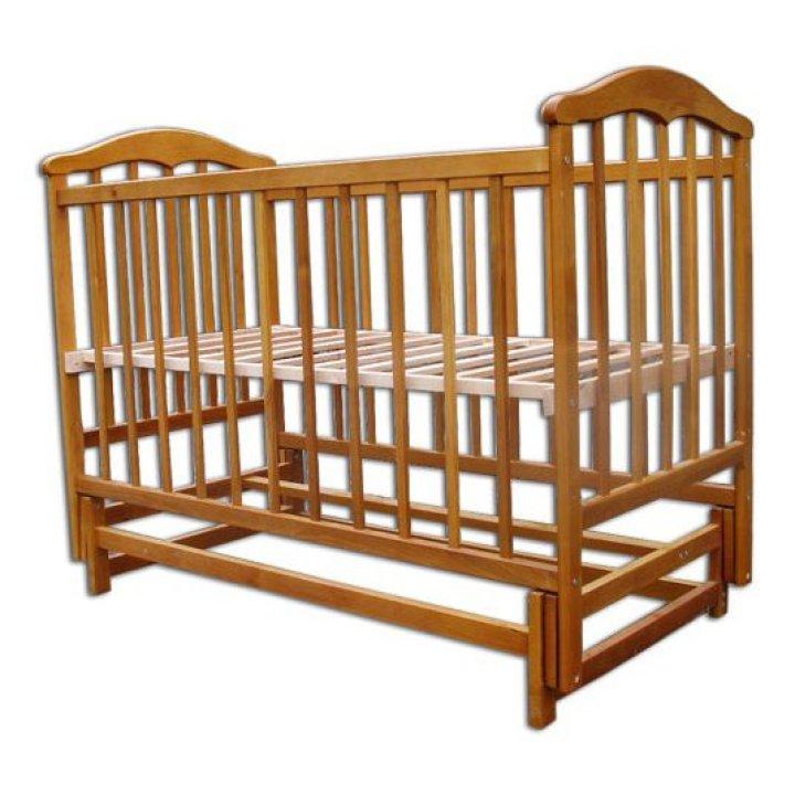 Кроватка Чайка маятник (без ящика) натуральная ольха