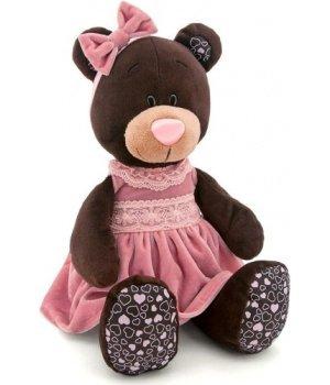 Orange сидячий Медвежонок Milk в розовом платье 25 см