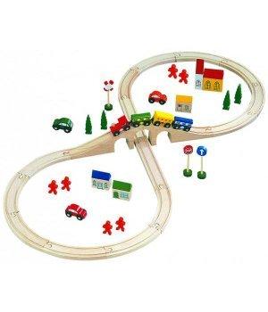 Деревянная железная дорога Bino (46 деталей)
