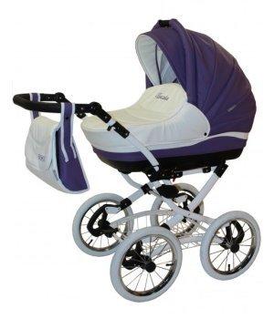 Универсальная коляска 2 в 1 Aneco Venezia classic кожа 12-SK фиолетовый с белым (белая рамма с белыми колесами)