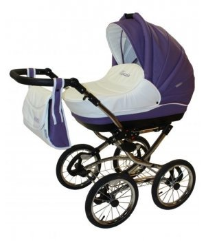 Универсальная коляска 2 в 1 Aneco Venezia classic кожа 12-SK фиолетовый с белым (хромированная рама с черными колесами)