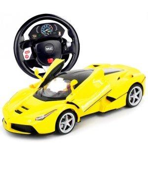 Автомобиль на радиоуправлении Ferrari Laferrari 1:14 (гиро-руль), MZ Meizhi желтый
