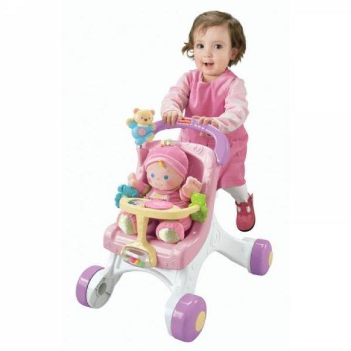 Коляска - ходунки Fisher-Price розовая с белым