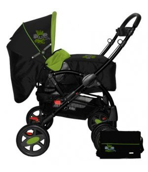 Универсальная коляска 2 в 1 Bertoni Just4Kids Flair black green sunny city
