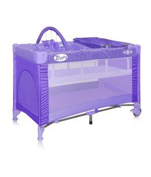 Манеж кроватка Bertoni Zippy 2 layers Plus violet lambs