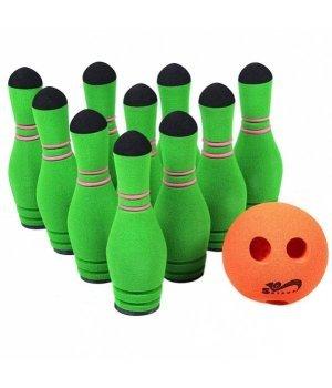 Спортивная детская игра SafSoft Боулинг в сумке (10 кеглей) Зеленый